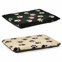 Dog Bed Ancol Black Paw On Cream & Cream Paw On Black Pads Flat Pad Puppy Crate