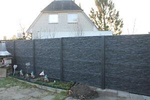 20m Betonzaun Sichtschutz doppelseitig Struktur Druck B
