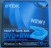 TDK DVD+RW 1,4 gb  Bobina de 10 unidades + caja de almacenamineto