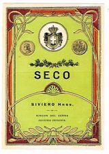 1940s URUGUAY Rincon Del Cerro Siviero Hnos. SECO WIne Label