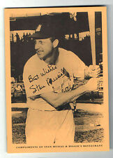 "STAN MUSIAL photocard ""signed"" advertising Restaurant"