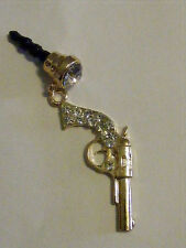 Bling Gun Pistal phone charm plug anti-dust 3.5mm iphone 4 4s Smart