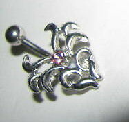 Belly Bar Pink Crystal 14g 316 Stainless Steel
