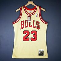 100% Authentic Michael Jordan Mitchell Ness 95 96 Gold Jersey Sz 36 40 44 48 52