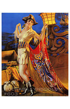 Pin Up Girl Poster 11x17 pirate ship gypsy maiden flapper retro art deco