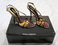 Dolce & Gabbana D&G Vero Cuoio Sandalo Nappa Bordeaux Strappy Sandals Size 38