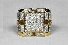 Round Diamond 14K Yellow Gold Finish Heavy Men's Cluster Engagement Ring 3.00 Ct