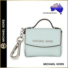 Michael Kors MK Ava Celadon Leather Mini Handbag Bag Charm Key ring chain Purse