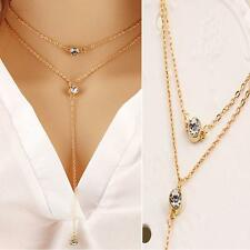 Chain Rhinestone Crystal Multi Layer Clavicle Choker Necklace