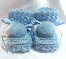 HANDMADE CROCHET BABY REBORN DOLLS BOOTIES SHOES BLUE NEWBORN 0-3 Months