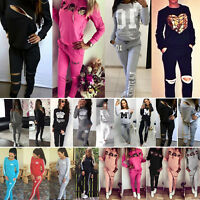2PCS Womens Tracksuit Hoodies Sweatshirt Casual Track Pants Sports Sweat Suits