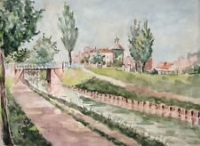 Vintage French Watercolor, Landscape, Canal and Village, Church