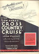 "1933 RARE LEW AYRES ""CROSS COUNTRY CRUISE"" 'bus movie' PR AD"