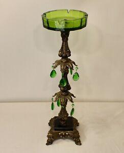 Vintage Hollywood Regency Floor Standing Ashtray Green Glass Metal Crystals