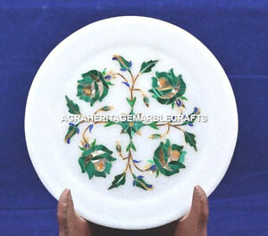"""6"""" Marble Malachite Floral Dish Plate Collectible Arts Living Table Decor H5449"""