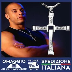 Collana Toretto Fast and Furious Uomo CROCE STRASS SILVER Moda 🇮🇹