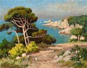 Tableau ancien paysage marin Provence bord de mer école Française signé XXème