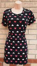Próxima Negro Blanco Rosa Corazón Estampado cremallera lados Tubo Blusón holgados Raro Vestido 10 S