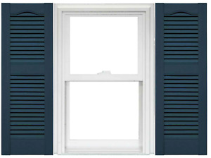 Mid America Open Louver Vinyl Shutters BLUE CLASSIC 14.5-in x 36-in (1 Pair)