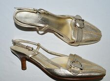 SALVATORE FERRAGAMO SZ 7 B GOLD LEATHER SLINGBACK PUMPS HEELS SHOES ITALY