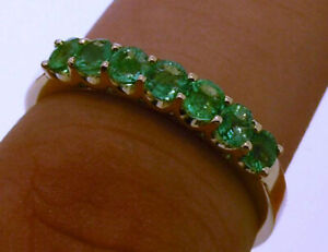 R183 Genuine 9K,10K,18K Gold Natural Emerald 7-Stone Eternity Ring in your size