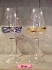 2 Large Tall Wine Glasses / Goblets  ~ Contemporary ~ His And Hers Wine Glass