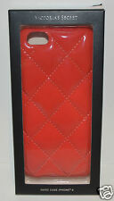 NEW VICTORIA'S SECRET RED QUILTED SHINY IPHONE 6 HARD CASE SLEEVE FAUX LEATHER