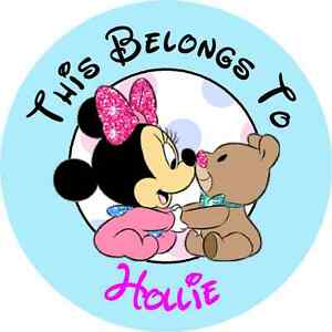 Round Personalized baby Minnie Mouse Property Stickers Name Tags School Labels