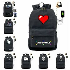 Game Undertale Sans Papyrus Backpack Schoolbag USB Charging Satchel Laptop Bags