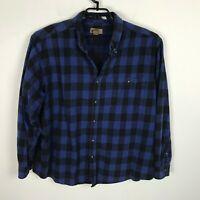 Faded Glory Flannel Shirt Mens Size 2XL Blue Black Lumberjack Plaid Broken In