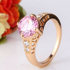 Gorgeous style ring ! Romantic 18k gold filled pink sapphire hot ring SzJ-SzR