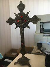 Standing Antique Bronze INRI Catholic Religious Altar Crucifix Church Cross