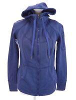 Tangerine Fleece Lined Fill Zip Hooded Jacket Hoodie Blue Thumbholes Womens Sz S