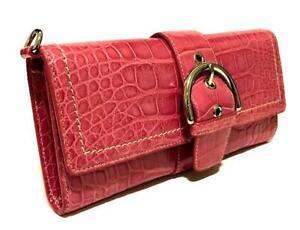 NEW COACH Ltd Ed PINK MAGENTA GENUINE ALLIGATOR SKIN LEATHER LG CLUTCH PURSE BAG
