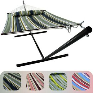 2 Person Hammock w/ Stand, Spreader Bars and Detachable Pillow - Safe Heavy Duty