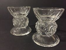 PAIR OF ART DECO CUP STYLE, ROSE STEM DESIGN CRYSTAL GLASS CANDLESTICK HOLDERS
