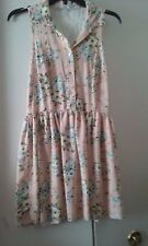CHARLOTTE RUSSE JUNIOR DRESS SZ SMALL PEACH WITH FLOWERS SLEEVELESS LACE INSERT