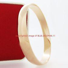 Real Womens Solid 18k Rose Gold GF Round Plain Bangles Bracelet Band 67mm 10mm