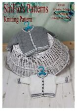 KNITTING PATTERN for BABY CARDIGAN 2 SIZES BOY, GIRL #344 NOT CLOTHES