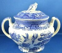 1800's Antique W. Adams & Sons Warranted Staffordshire BLUE WILLOW Sugar Bowl