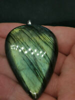 Genuine Gold Green Labradorite Heart Cabochon Gemstone Pendant Natural Healing