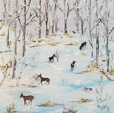 original oil painting deer landscape animal snow winter canvas signed home decor