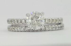 0.94 ct 14K White Gold Round Cut Diamond Engagement Ring Set