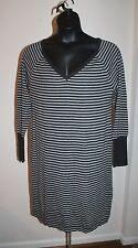 Gap Women's Maternity Gray Striped V-Neck Sweater Dress Size XL