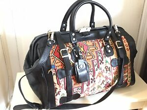 HANDMADE TURKISH DELIGHT LEATHER SILK  DUFFEL TRAVEL WEEKEND BAG KILIM LOCK KEY