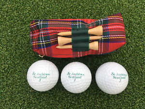 St. Andrews Logo golf balls And Tees In Tartan Carry Case.