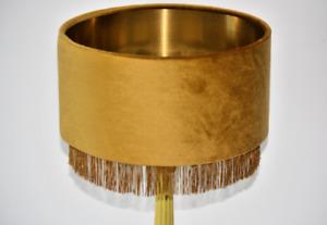 Golden Ochre (mustard) Velvet shade with Gold fringe trim & brushed gold lining