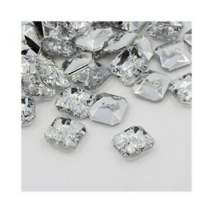 Acrylic Buttons Clear Faceted Square 11mm 2-Hole Pack Of 20