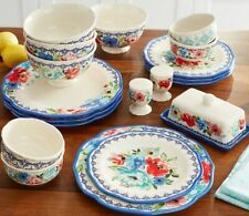 The Pioneer Woman Blue Rim Floral 20-Piece Dinnerware for 4 with Serve Set New
