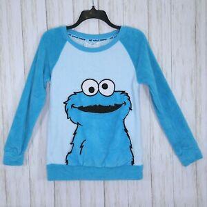 Sesame Street Fleece Blue Pajama Top Size XS Womens Cookie Monster Pouch Pocket